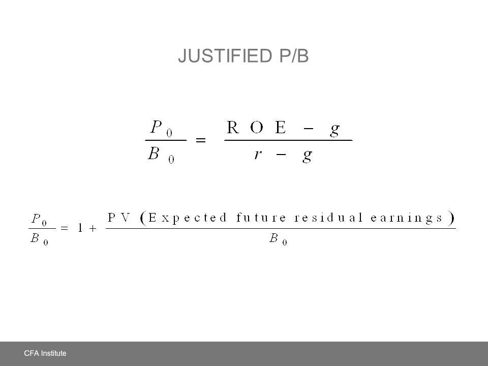 Justified P/B LOS: Identify and discuss the fundamental factors that influence each price multiple and dividend yield.