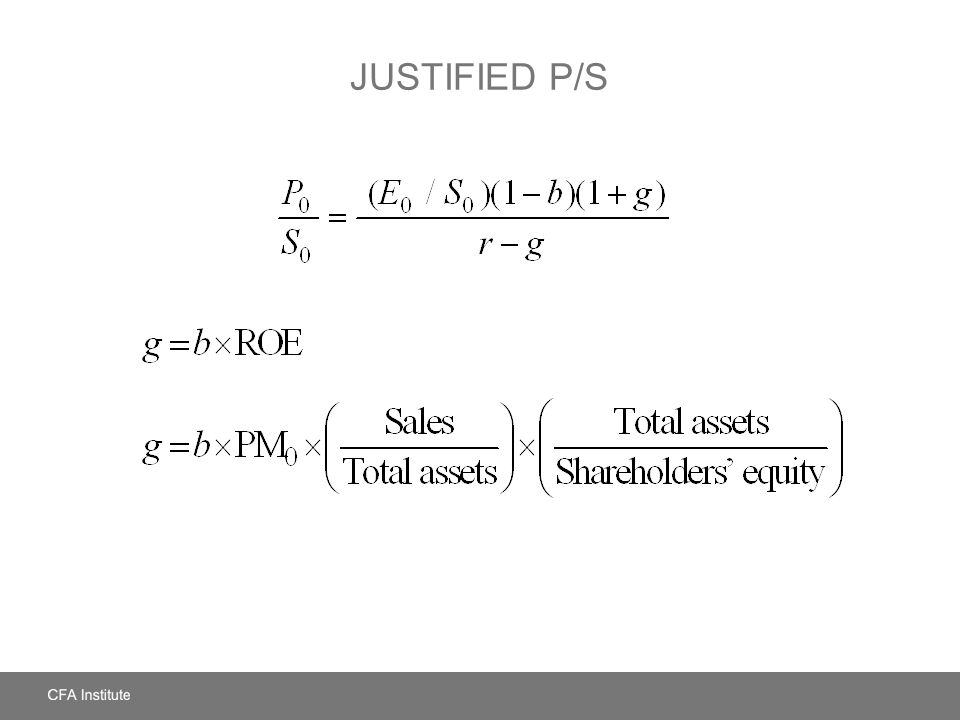 Justified P/S LOS: Identify and discuss the fundamental factors that influence each price multiple and dividend yield.