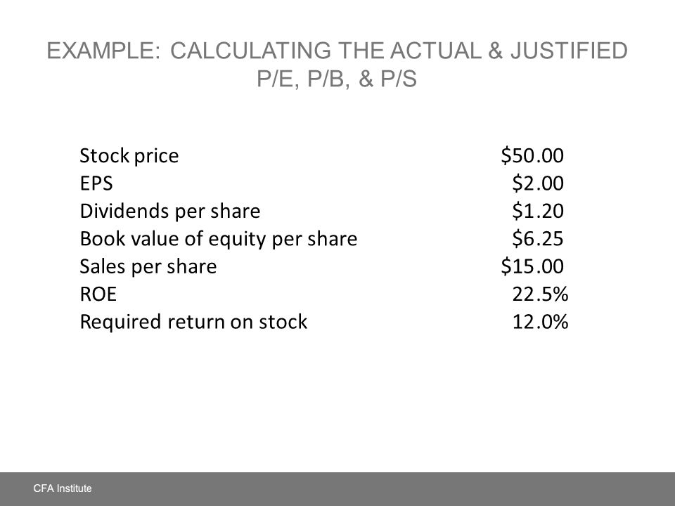 Example: Calculating the Actual & Justified P/E, P/B, & P/S