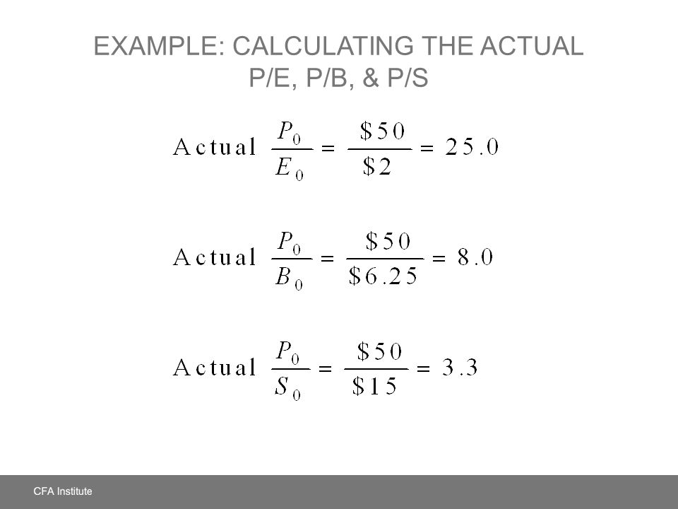 Example: Calculating the Actual P/E, P/B, & P/S