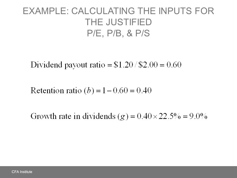 Example: Calculating the Inputs for the Justified P/E, P/B, & P/S