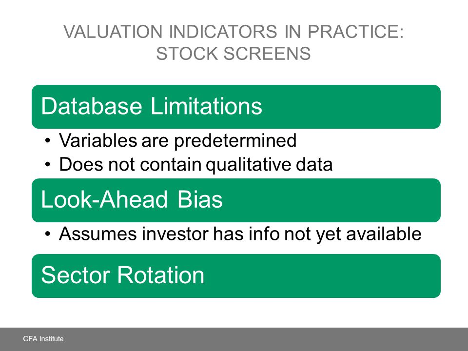 Valuation Indicators in Practice: Stock Screens