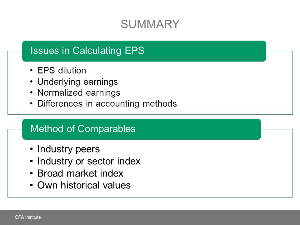 Summary Issues in Calculating EPS Industry peers