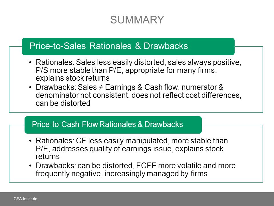Summary Price-to-Sales Rationales & Drawbacks