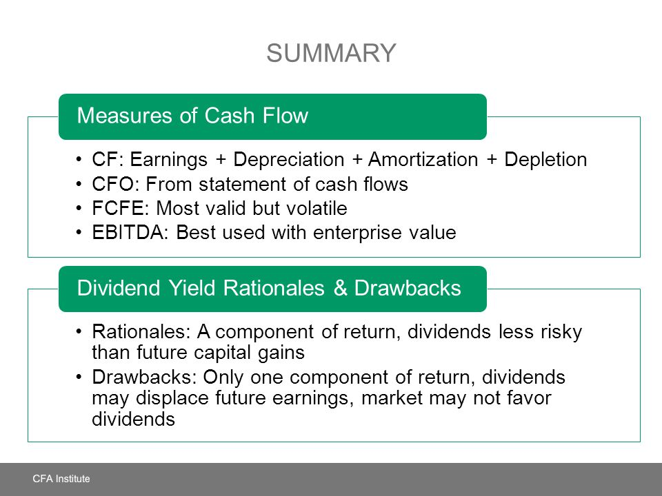 Summary Measures of Cash Flow Dividend Yield Rationales & Drawbacks