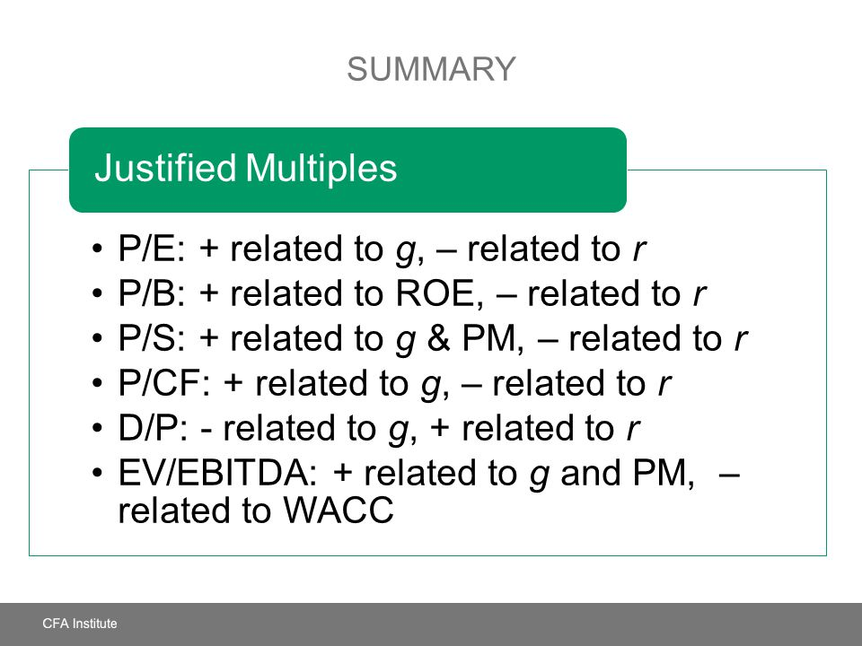 Justified Multiples P/E: + related to g, – related to r