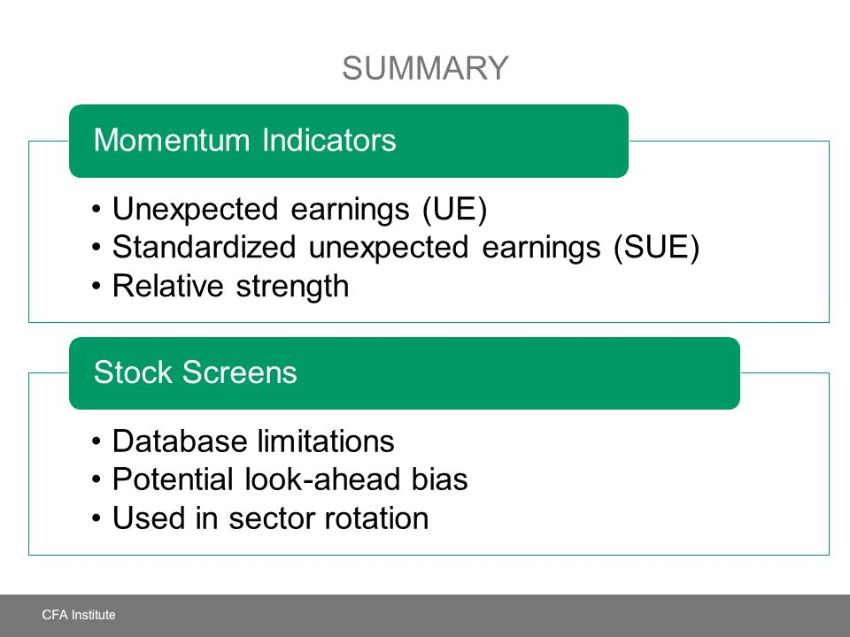 Summary Unexpected earnings (UE)