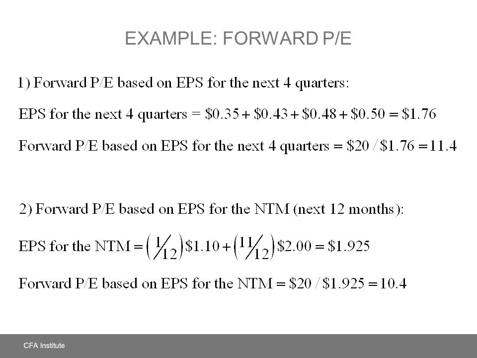 Example: Forward P/E LOS: Define and calculate each price multiple and dividend yield. Pages 272 – 275, Spreadsheet Example.
