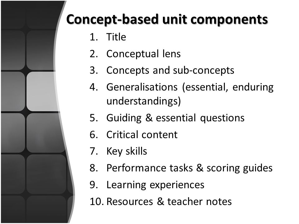 Concept-based unit components