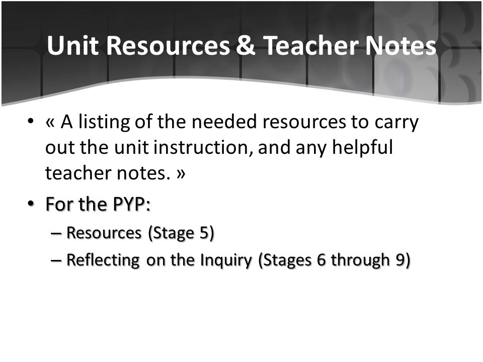 Unit Resources & Teacher Notes