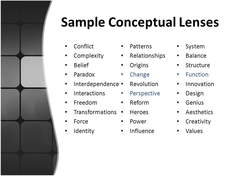 Sample Conceptual Lenses