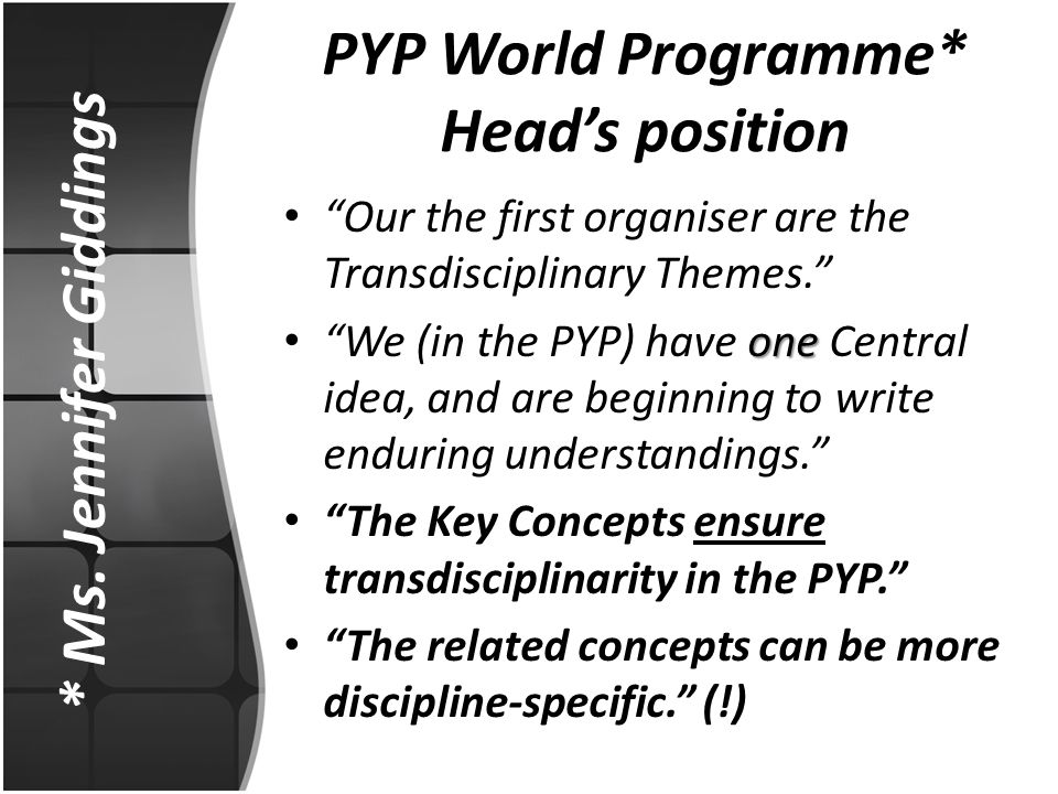 PYP World Programme* Head's position