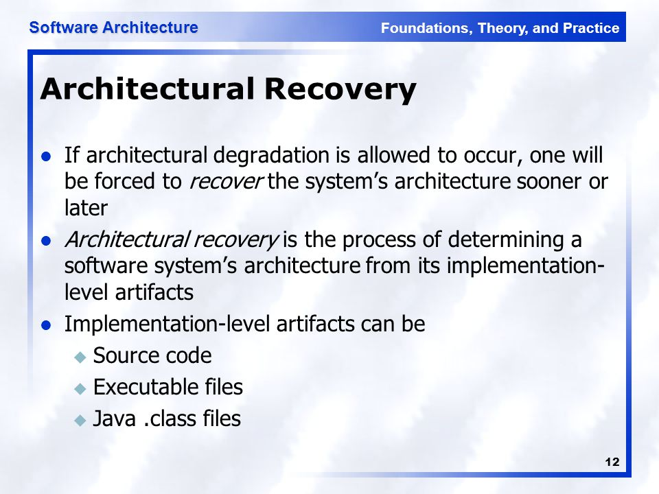 Architectural Recovery