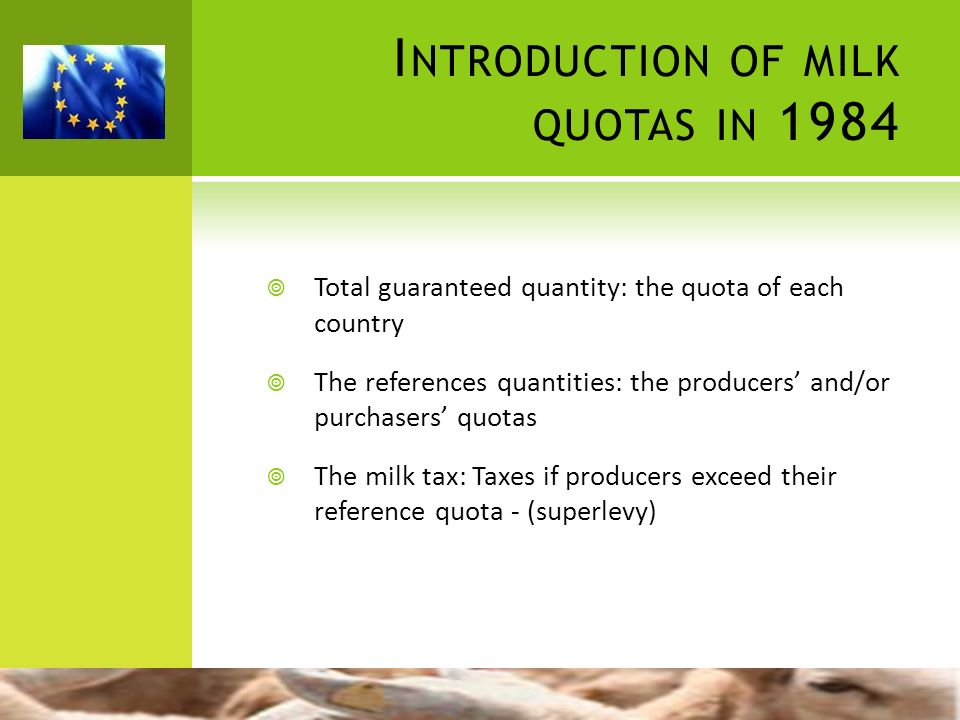 Introduction of milk quotas in 1984