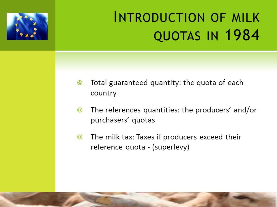 Introduction of milk quotas in 1984