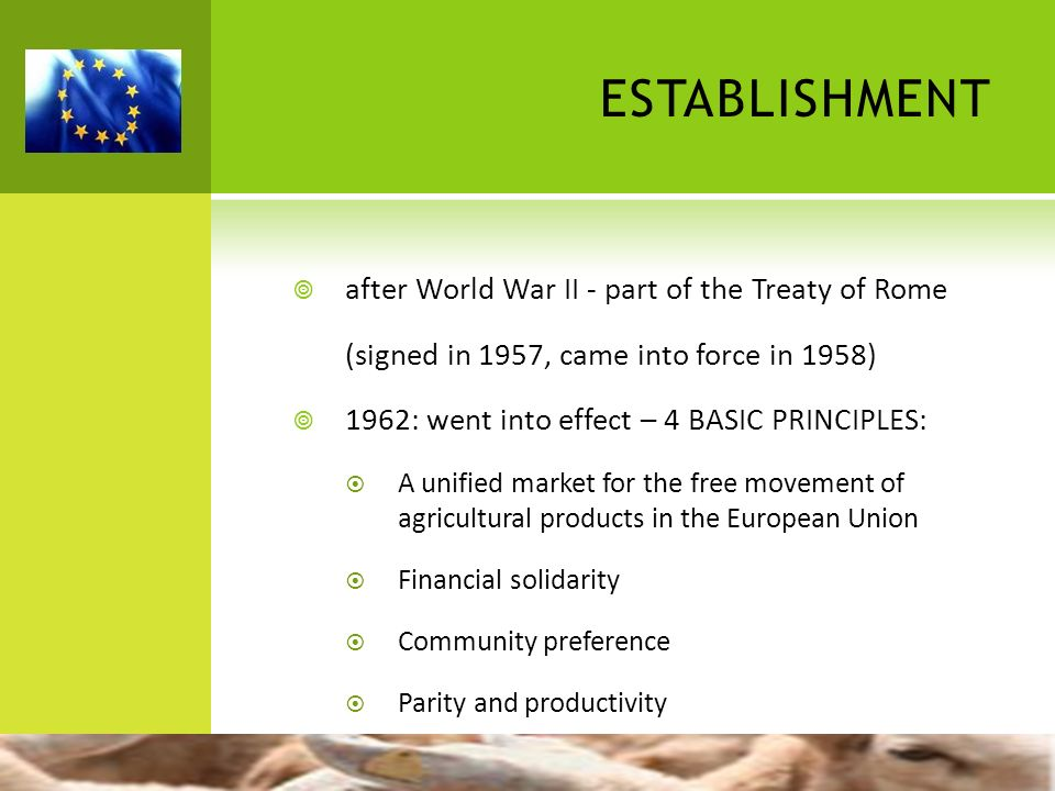 establishment after World War II - part of the Treaty of Rome