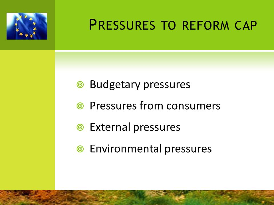 Pressures to reform cap