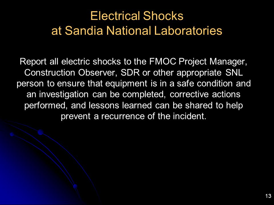 Electrical Shocks at Sandia National Laboratories