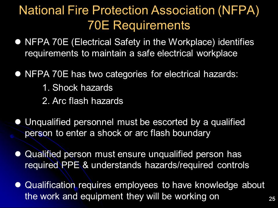 National Fire Protection Association (NFPA) 70E Requirements