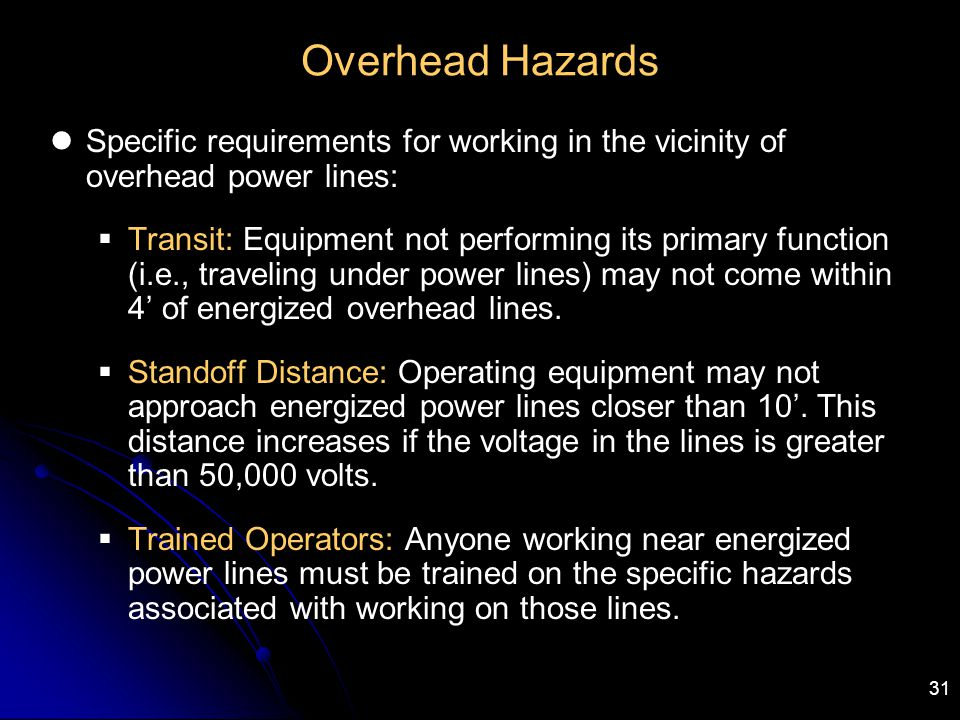 Overhead Hazards Specific requirements for working in the vicinity of overhead power lines: