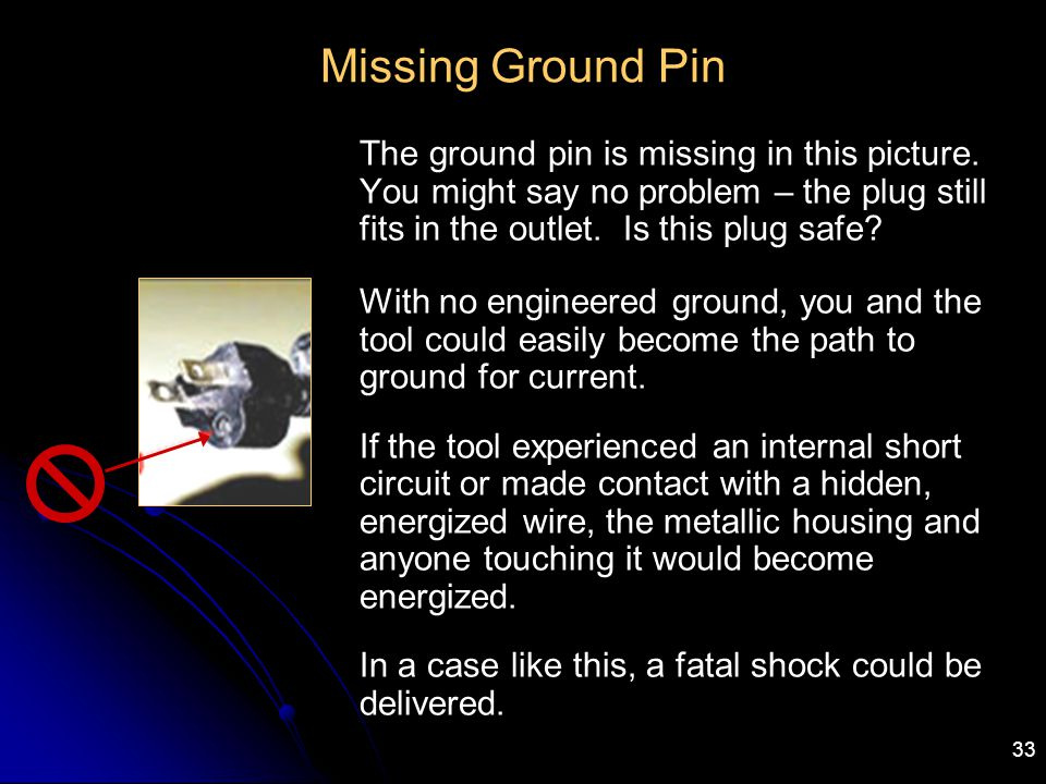 Missing Ground Pin The ground pin is missing in this picture. You might say no problem – the plug still fits in the outlet. Is this plug safe