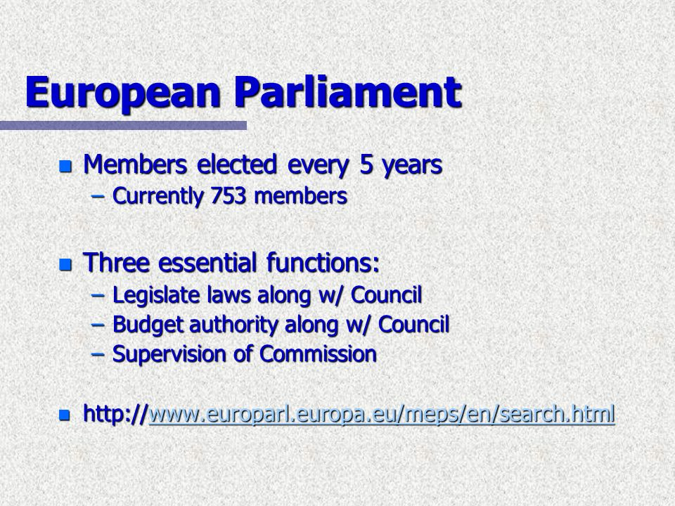 European Parliament Members elected every 5 years