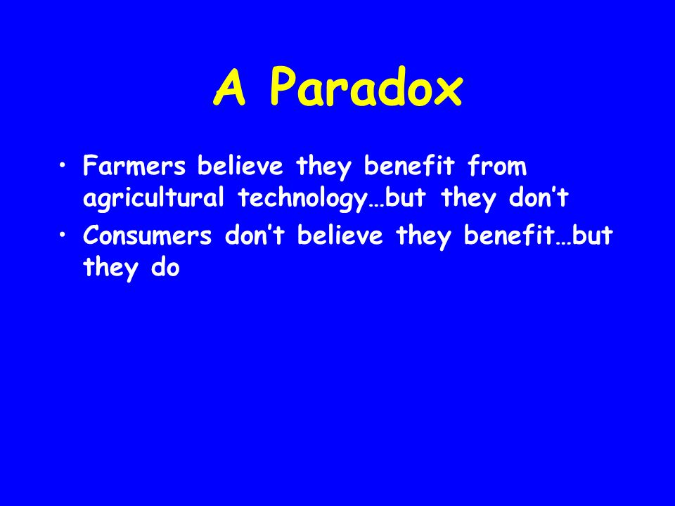 A Paradox Farmers believe they benefit from agricultural technology…but they don't.