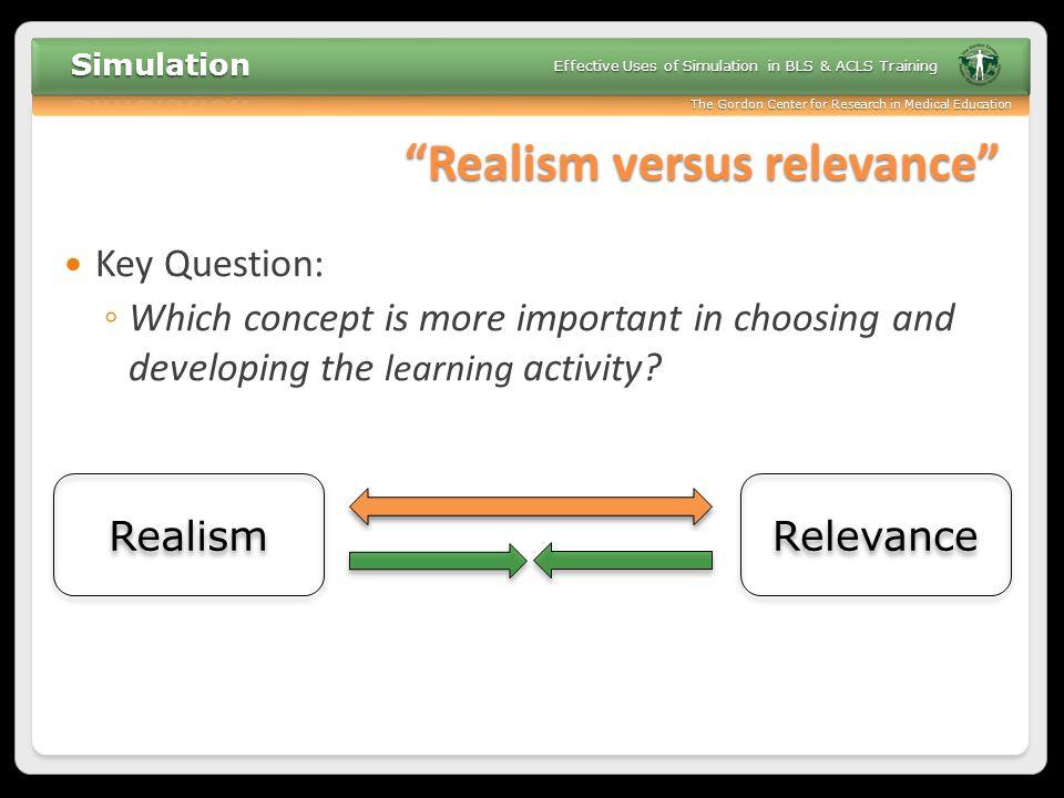 Realism versus relevance