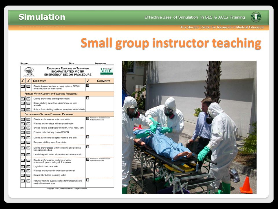 Small group instructor teaching