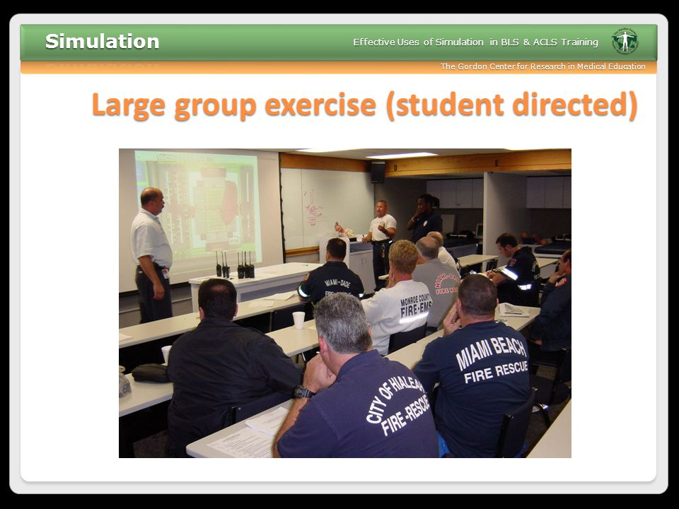 Large group exercise (student directed)
