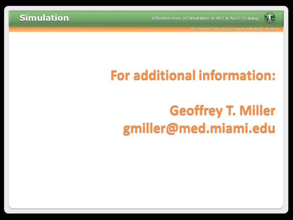 For additional information: Geoffrey T. Miller gmiller@med.miami.edu