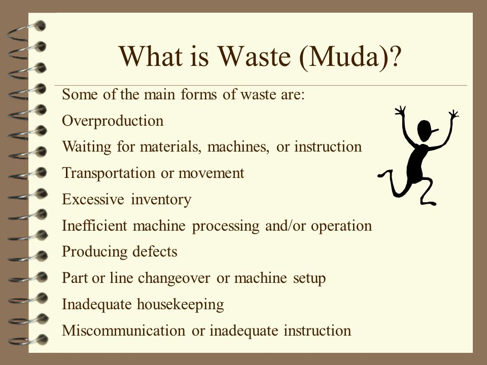 What is Waste (Muda) Some of the main forms of waste are: