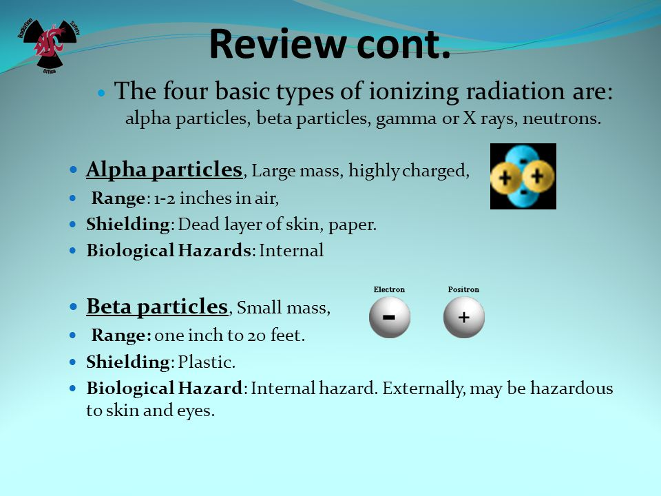 Review cont. The four basic types of ionizing radiation are: alpha particles, beta particles, gamma or X rays, neutrons.