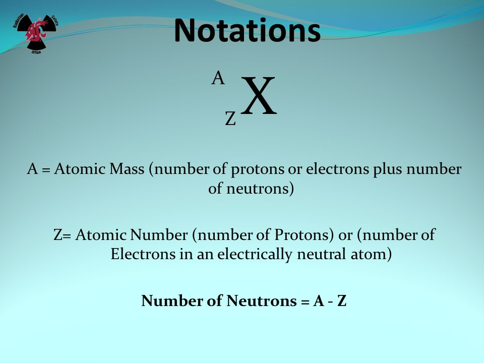 Number of Neutrons = A - Z