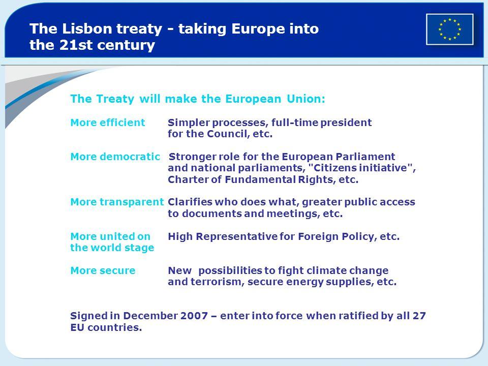 The Lisbon treaty - taking Europe into the 21st century