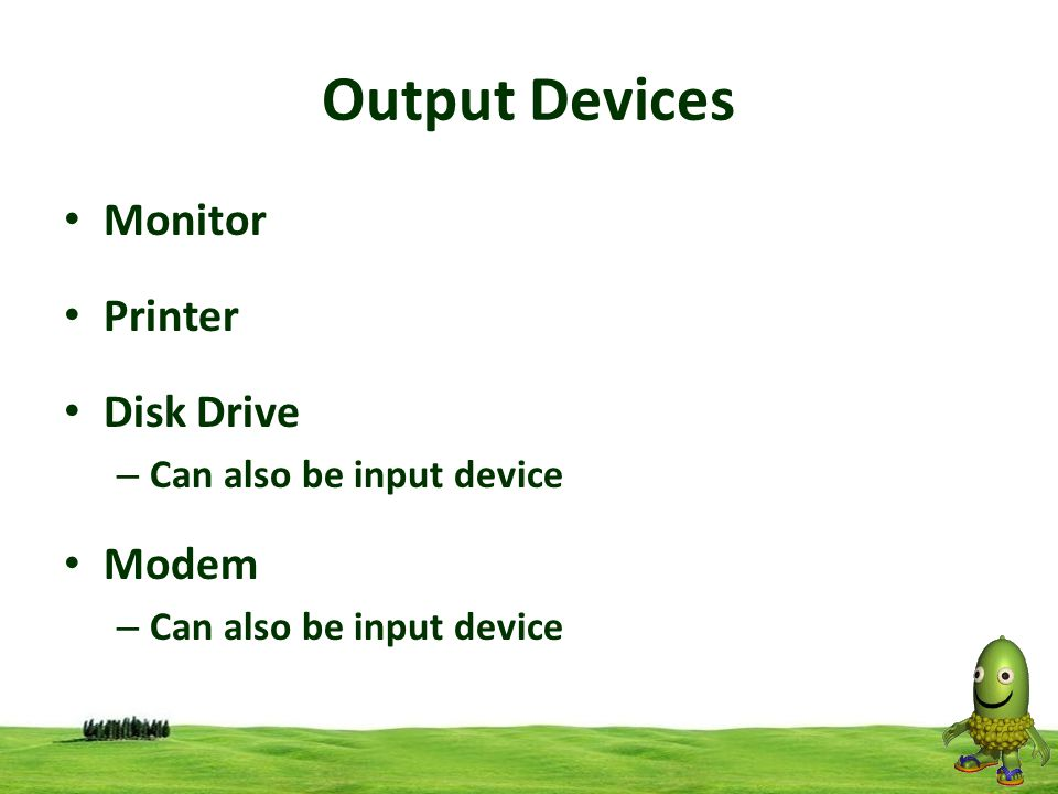 Output Devices Monitor Printer Disk Drive Modem