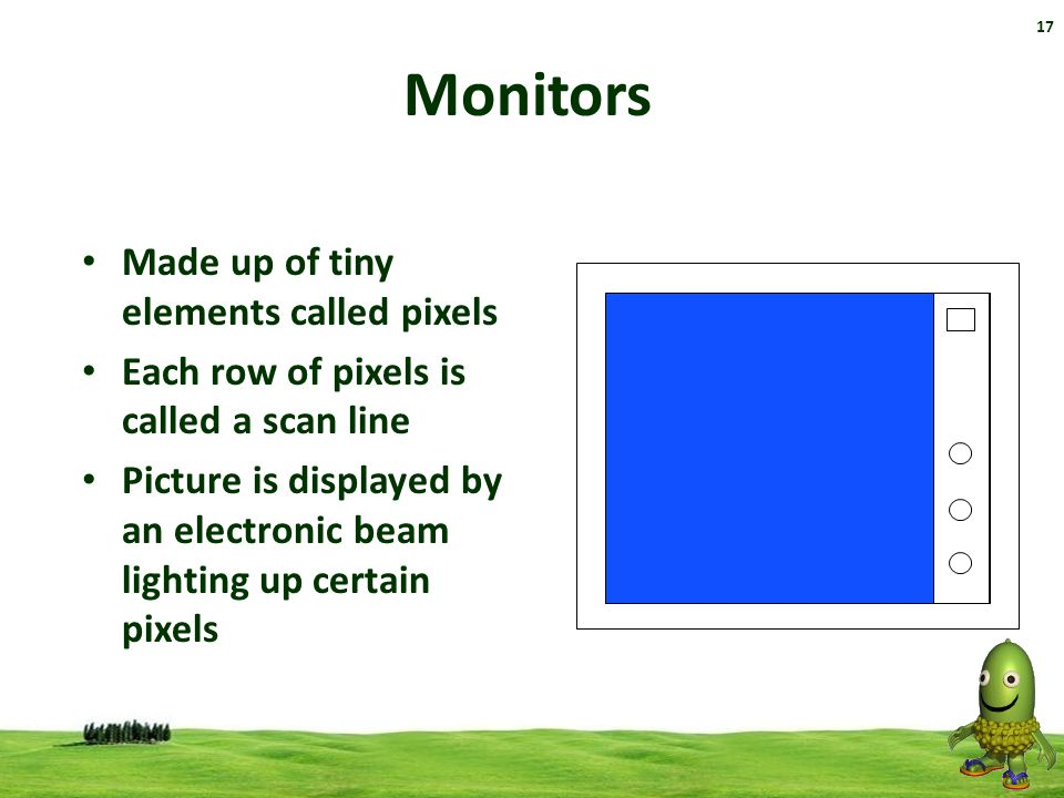 Monitors Made up of tiny elements called pixels