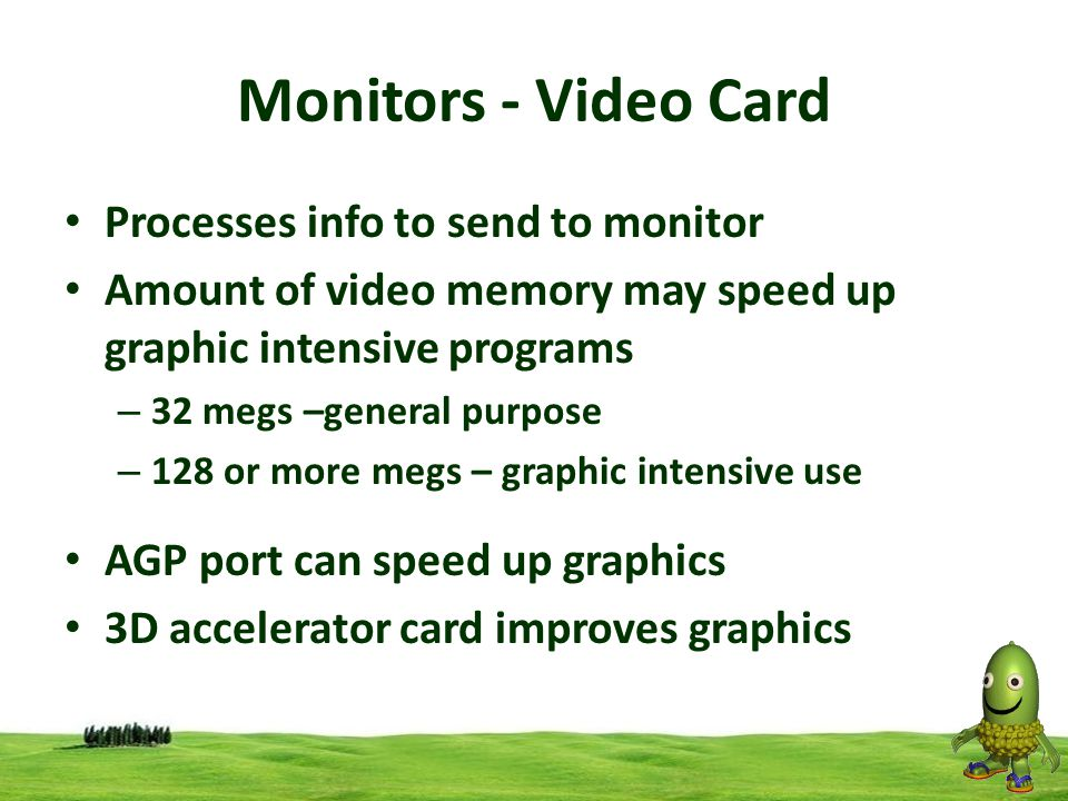 Monitors - Video Card Processes info to send to monitor