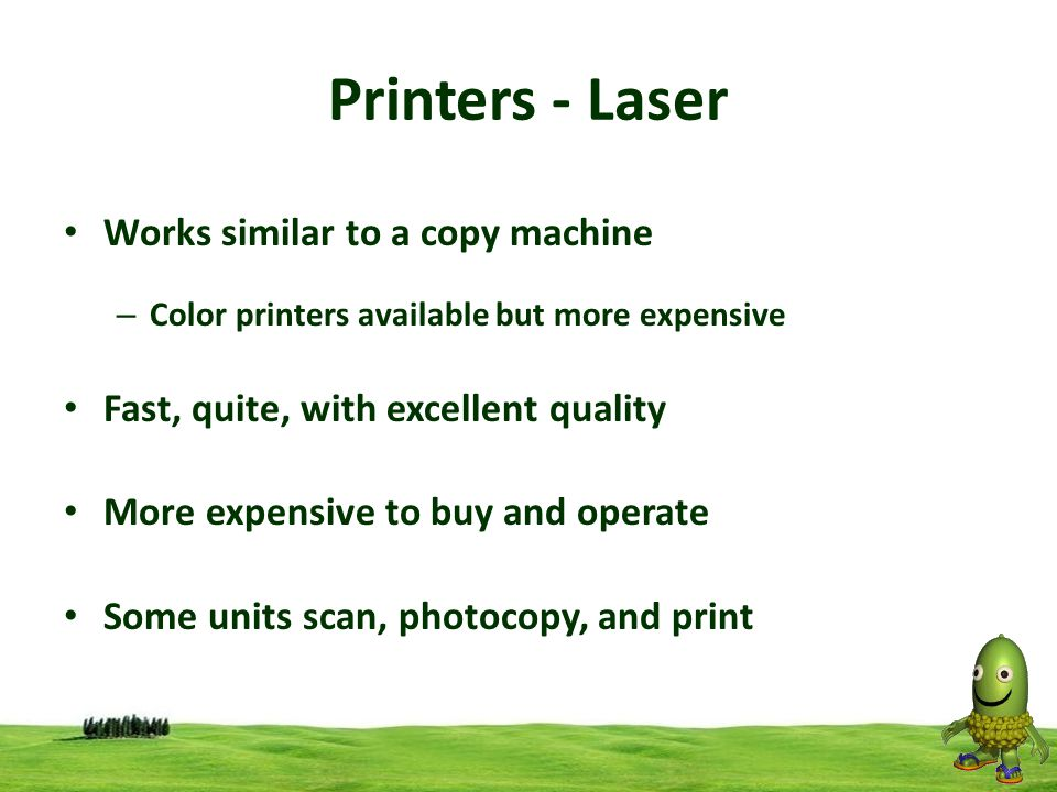 Printers - Laser Works similar to a copy machine