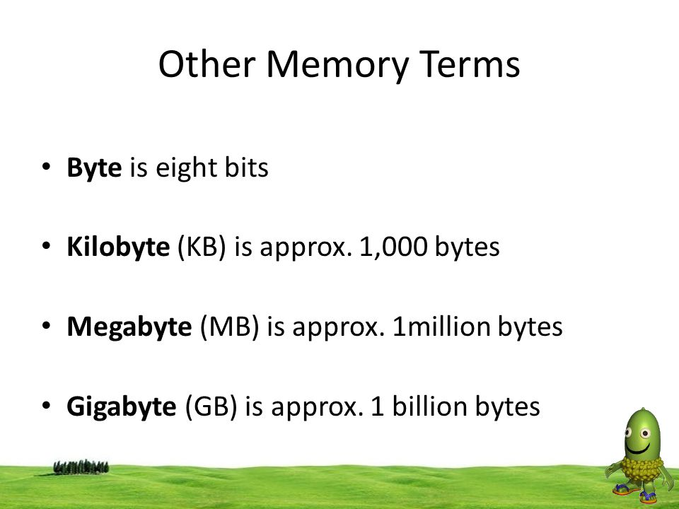 Other Memory Terms Byte is eight bits