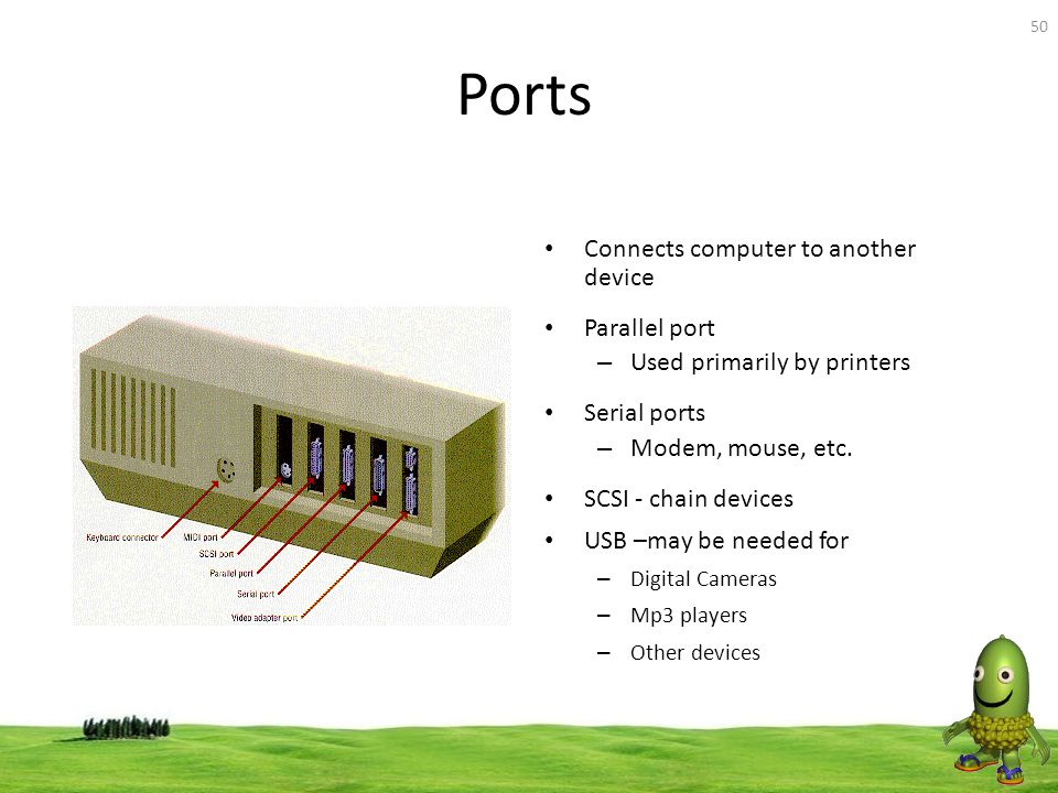 Ports Connects computer to another device Parallel port