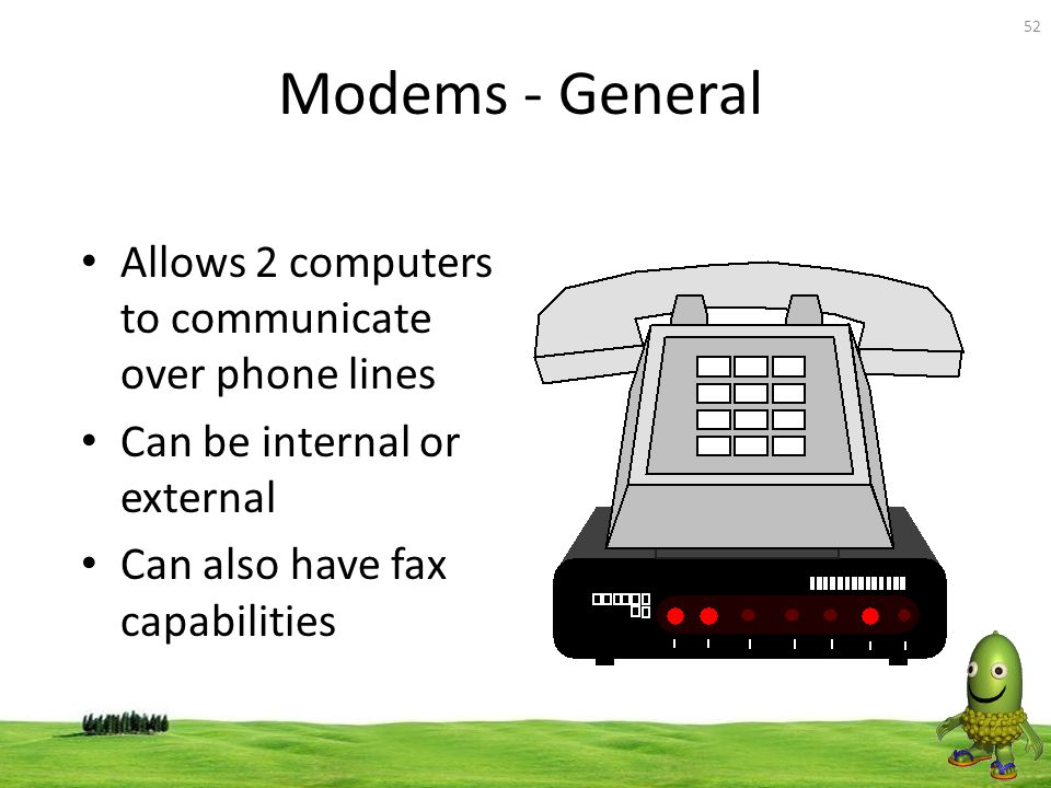 Modems - General Allows 2 computers to communicate over phone lines