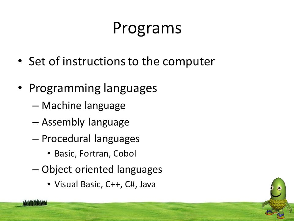 Programs Set of instructions to the computer Programming languages