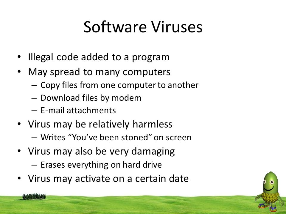 Software Viruses Illegal code added to a program