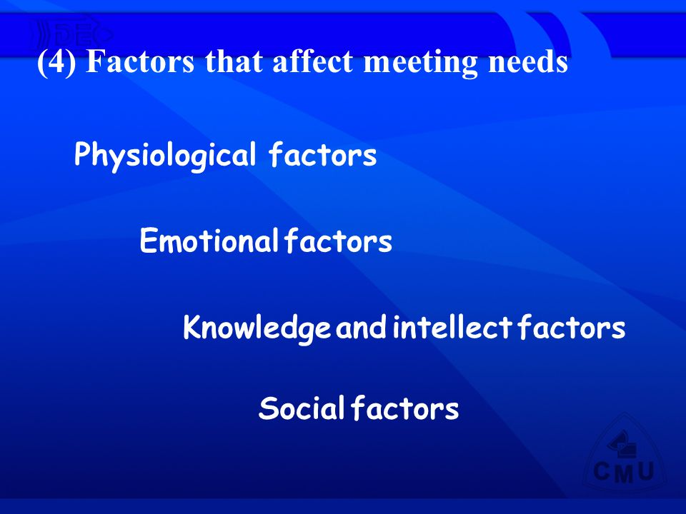 (4) Factors that affect meeting needs