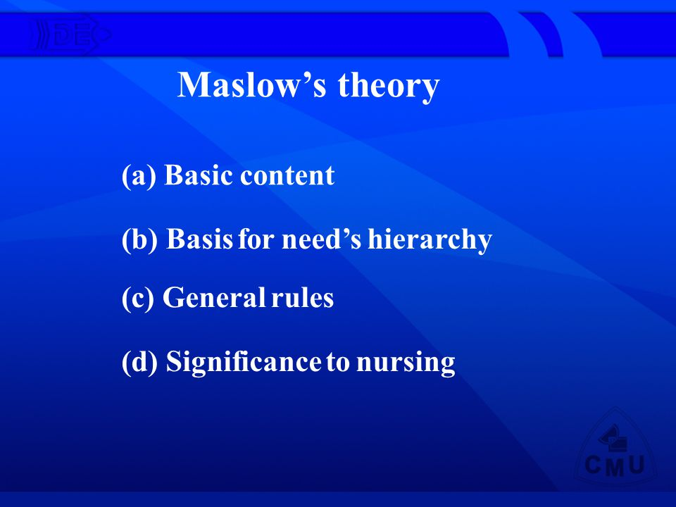 Maslow's theory (a) Basic content (b) Basis for need's hierarchy