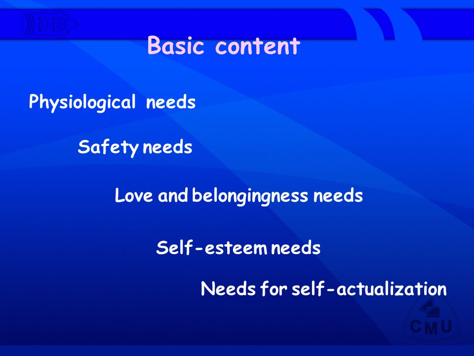 Basic content Physiological needs Safety needs