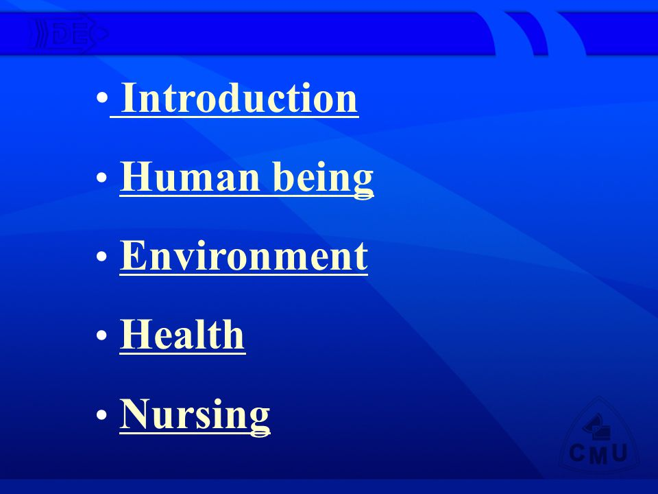 Introduction Human being Environment Health Nursing