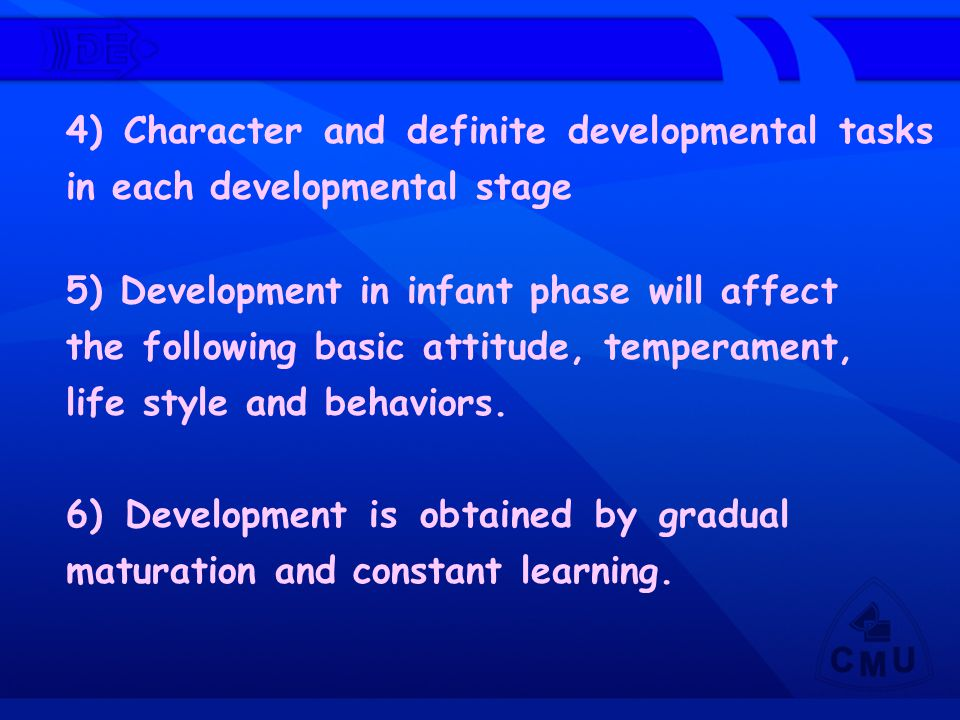 4) Character and definite developmental tasks in each developmental stage