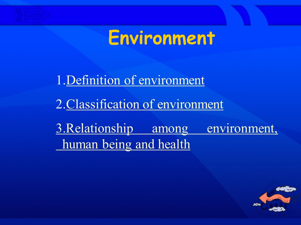 Environment 1.Definition of environment